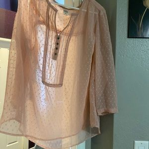 Pale pink blouse with ruffles and embroidery